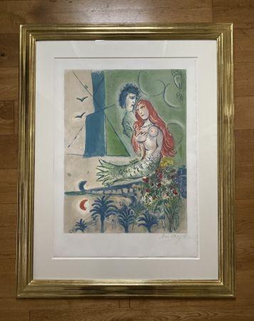 リトグラフ Chagall (After) -  Sirène au Poète