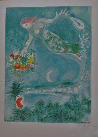 リトグラフ Chagall - Sirène Et Poissons, From Nice Et La Côte D'azur (C.s. 28)