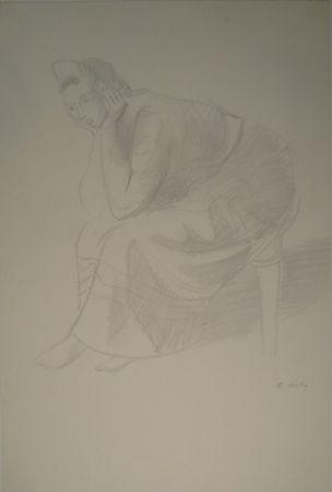 モノタイプ Holy - Sitzende junge Frau, den Kopf auf die Unterarme mit den Händen gestützt.