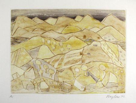 エッチングと アクチアント Bargheer - Sizilianische Landschaft / Sicilian Landscape