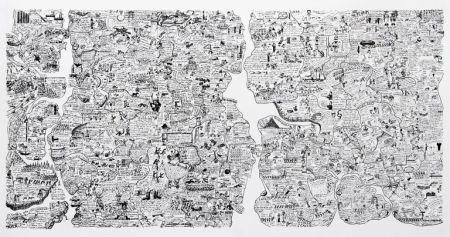 シルクスクリーン Fahlström - Sketch for World Map from the Peace Portfolio