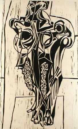 リノリウム彫版 Casarella - Skull Study