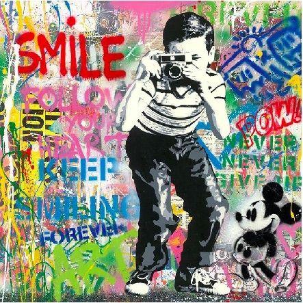 シルクスクリーン Mr Brainwash - Smile, 2020