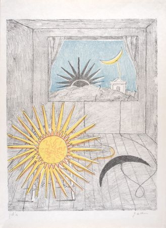 リトグラフ De Chirico - Sole e luna in una stanza