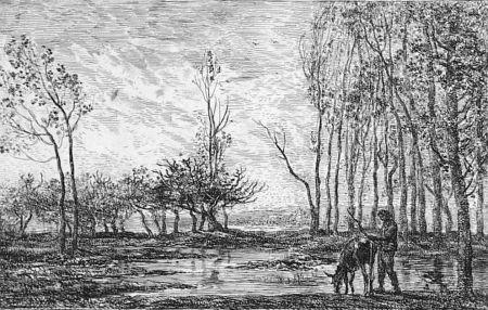 エッチング Daubigny - Soleil couchant