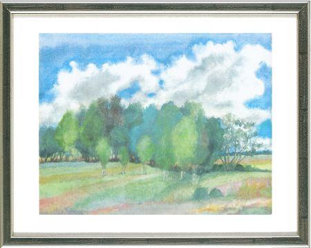 リトグラフ Grass - Sommerlandschaft mit Birken