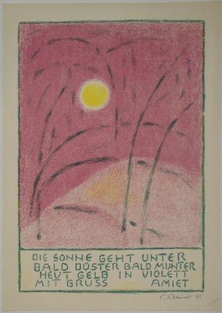リトグラフ Amiet - Sonnenuntergang