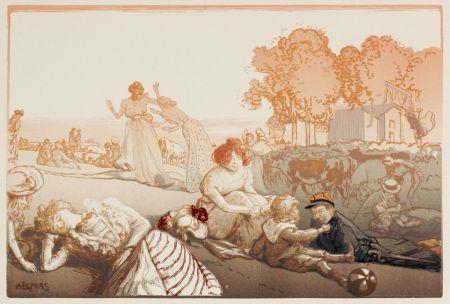 木版 Lepere - Sonntag vor den Thoren von Paris  (Bucolique moderne)