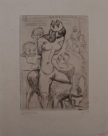 彫版 Gromaire - Sorcière sur un âne