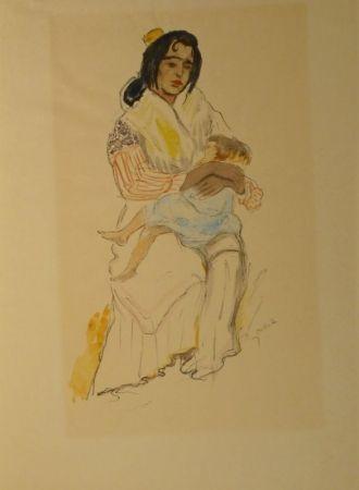リトグラフ Orlik - Spanische Zigeunerin mit Kind, Sevilla