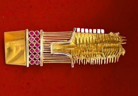 技術的なありません Pomodoro - Spilla originale in oro rosso e bianco con 12 rubini