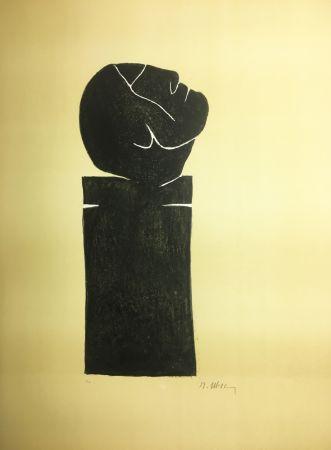 リトグラフ Ubac - STÈLE TÊTE LEVÉE . Lithograpie originale signée au crayon (1982).