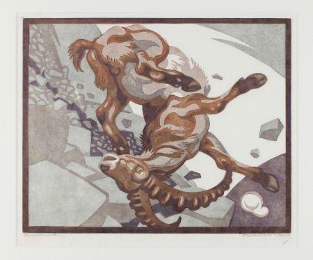 リノリウム彫版 Bresslern-Roth - Stürzender Steinbock (Falling Ibex)