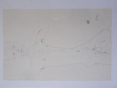 リトグラフ Schiele - Standing male nude