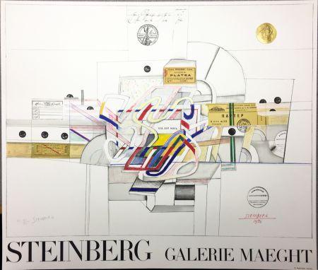 リトグラフ Steinberg - STEINBERG 1970. Galerie Maeght. Lithographie signée par l'artiste.