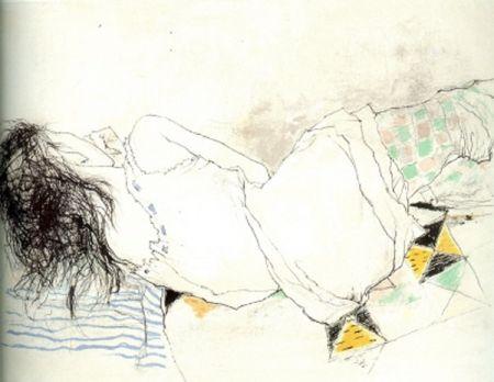 リトグラフ Jansem - Stephanie au Collant Damier