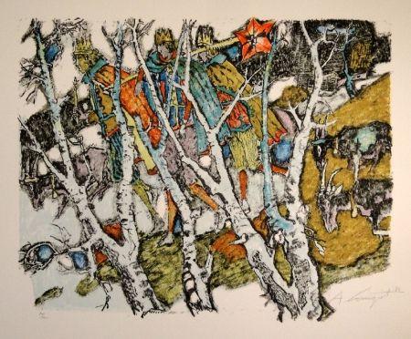 リトグラフ Carigiet - Sternsinger  (Die Drei Könige hinter Birken)