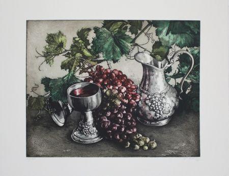 エッチングと アクチアント Rusch - Stilleben mit Wein / Still Life with Wine