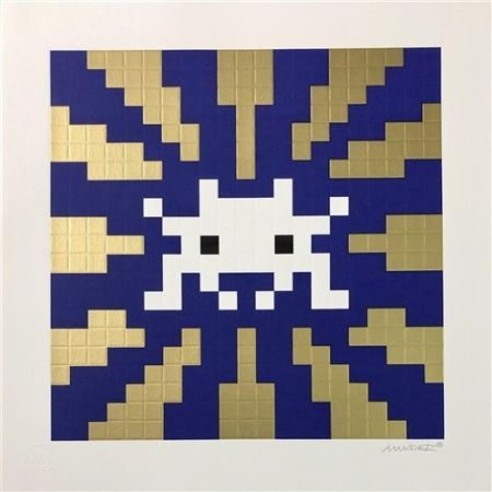 シルクスクリーン Space Invader - Sunset (Gold & Blue)