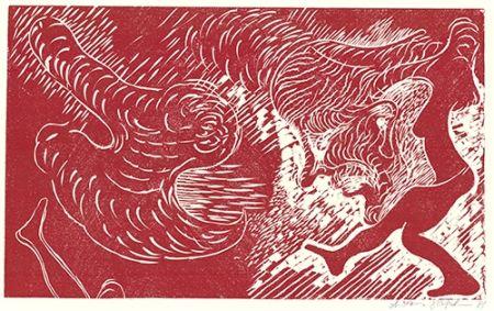 リノリウム彫版 Höckelmann - Surferin (Rot)