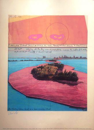 リトグラフ Christo - Surrounded Islands Miami MACBA BARCELONA 56X76