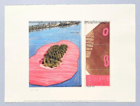 リトグラフ Christo - 'Surrounded islands, project for Biscane Bay'
