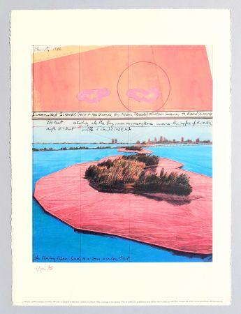 リトグラフ Christo - Surrounded islands, project for Biscane Bay
