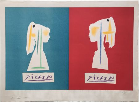 リトグラフ Picasso - SYLVETTE DE PROFIL. Une des rarissimes épreuves signées par Picasso (1954).