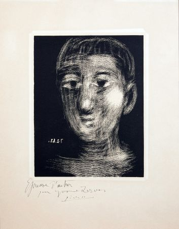 リノリウム彫版 Picasso - TÊTE DE GARCON (III). Linogravure. 1962.