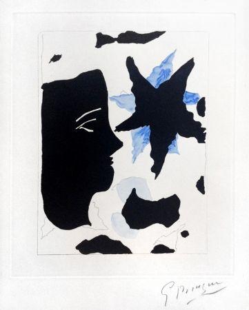 エッチングと アクチアント Braque - Téte En Profil E L'Étoile (Head In Profile And Star) From Georges Braque – Nouvelles Sculptures Et Plaque Graveés, 1960