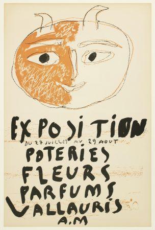 リトグラフ Picasso - Tête de Faune (Exposition Poteries Fleurs Parfums Vallauris A.M)