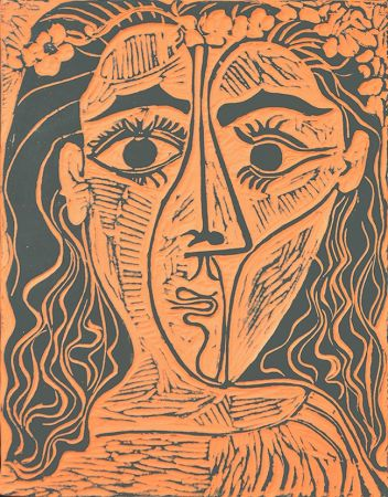 セラミック Picasso - Tête de femme à la couronne de fleurs (Woman's Head with Crown of Flowers), 1964