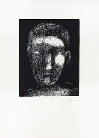 リノリウム彫版 Picasso - Tête De Garçon