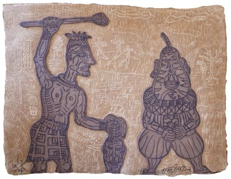 彫版 Combas - Tête de poire et artiste givré