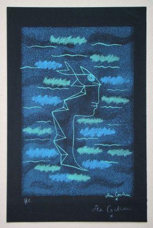 リトグラフ Cocteau - Tête d'homme aux yeux poisson