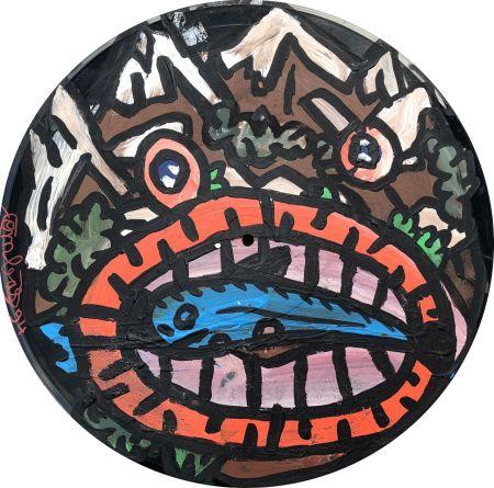 技術的なありません Combas - Tête en forme de montagne qui mange un poisson
