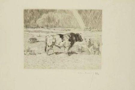 彫版 Lunois - Taureau dans un pré / Bull in a Meadow