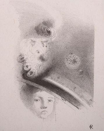 リトグラフ Redon - Tete d'enfant, de face....