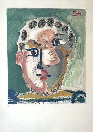 リトグラフ Picasso - Tete D'homme Bardu