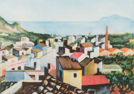 彫版 Guttuso - Tetti con monte Pellegrino sullo sfondo