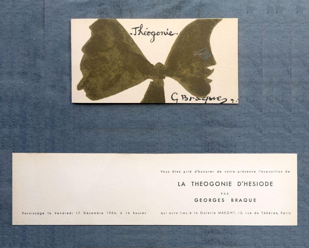 リトグラフ Braque - THÉOGONIE. Carton d'invitation au vernissage Galerie Maeght. 1954