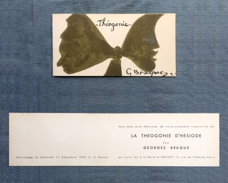 リトグラフ Braque - THÉOGONIE. Carton d'invitation au vernissage Galerie Maeght. 1954