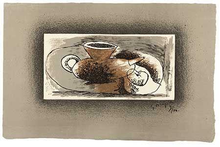 リトグラフ Braque - Théière Sur Fond Gris