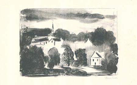 リトグラフ Vlaminck - Théméricourt le clocher dans les arbres