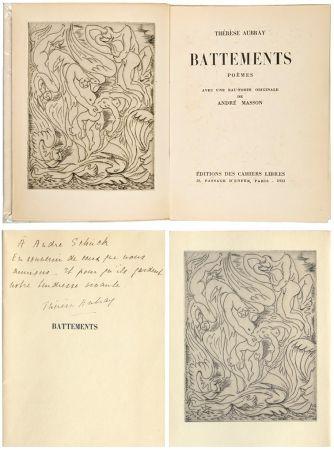 挿絵入り本 Masson - Thérèse Aubray : BATTEMENTS. 1/35 avec la gravure d'André Masson (Paris, 1933).