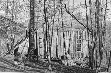 リトグラフ Levine - The Brookwood Cabin