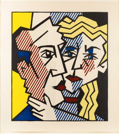 木版 Lichtenstein - The Couple, From The Expressionist Woodcut Series
