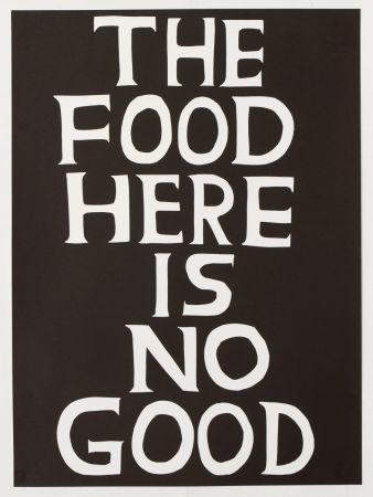 リノリウム彫版 Shrigley - The food here is no good