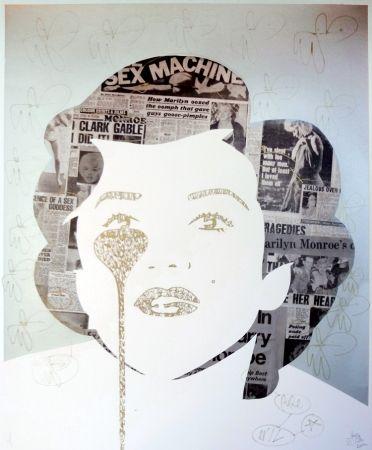 シルクスクリーン Pure Evil - The last Marilyn (golden ink face)