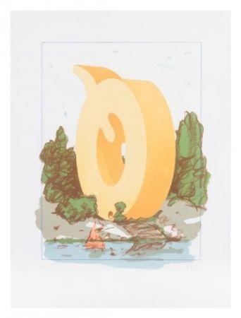 リトグラフ Oldenburg - The Letter Q as Beach House with Sailboat